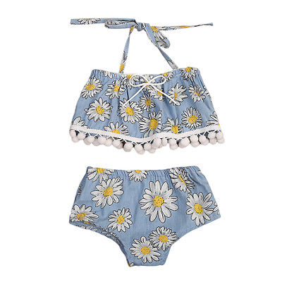 Polka Sun Flowers Tassel Top and Shorts Set - Clothing Sets - baby-petite