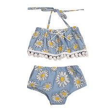 Polka Sun Flowers Tassel Top and Shorts Set