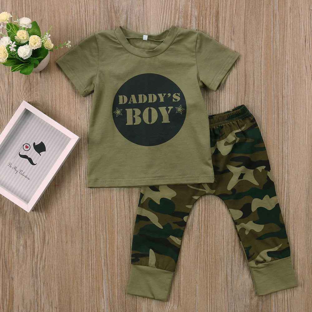 Daddy's Boy Camouflage T-Shirt and Long Pants Set - Clothing Sets - baby-petite