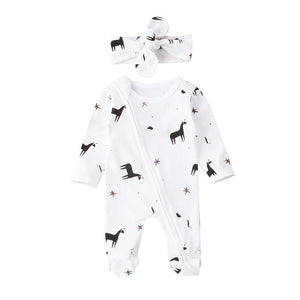 Goodnight Sweet Horse Long Sleeve Pajamas With Matching Headband