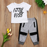 Little Boss T-Shirt and Long Pants Set - Clothing Sets - baby-petite