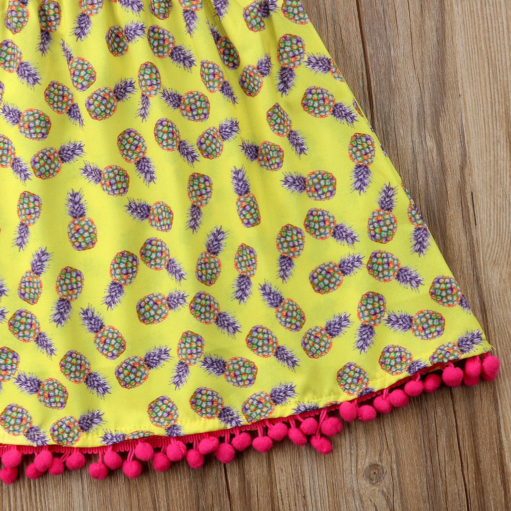 Mexicana Pineapple Pink Pom Pom Dress - Dresses - baby-petite