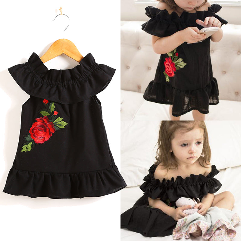 Black Oriental Red Roses Dress - Dresses - baby-petite