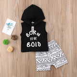 Born To Be Bold Sleeveless Hoodie and Short Pants Set - Clothing Sets - baby-petite