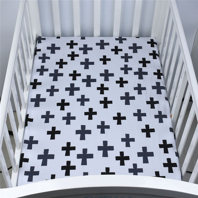 Polka Crosses Baby Bed Sheet - Bed Sheets - baby-petite