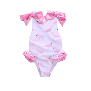 Soft Flamingo Statement Ribbon Sleeve One Piece Swimsuit