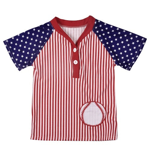 Baseball American Super Star Button T-Shirt - Tops - baby-petite