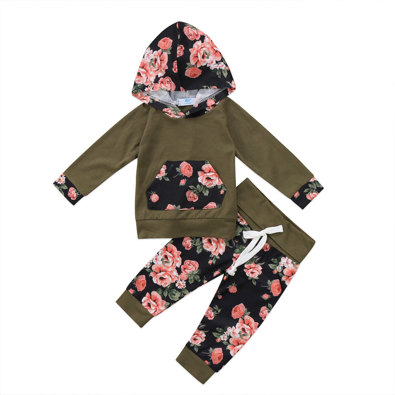 Hipster Wood Petals Hoodie and Long Pants Set