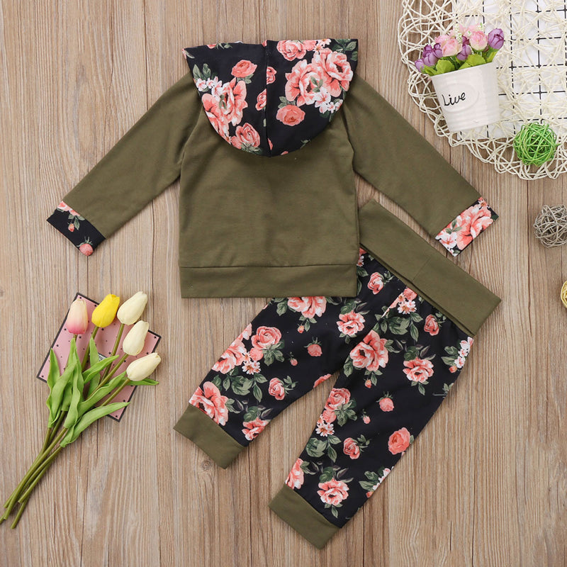Hipster Wood Petals Hoodie and Long Pants Set - Clothing Sets - baby-petite