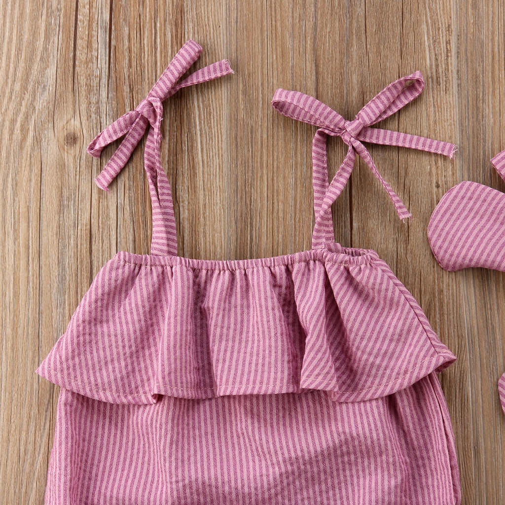 Summer Red Thin Striped Romper With Matching Headband