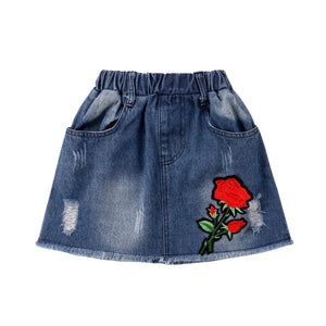 Rosie Embroidery Stretchable Denim Mini Skirt