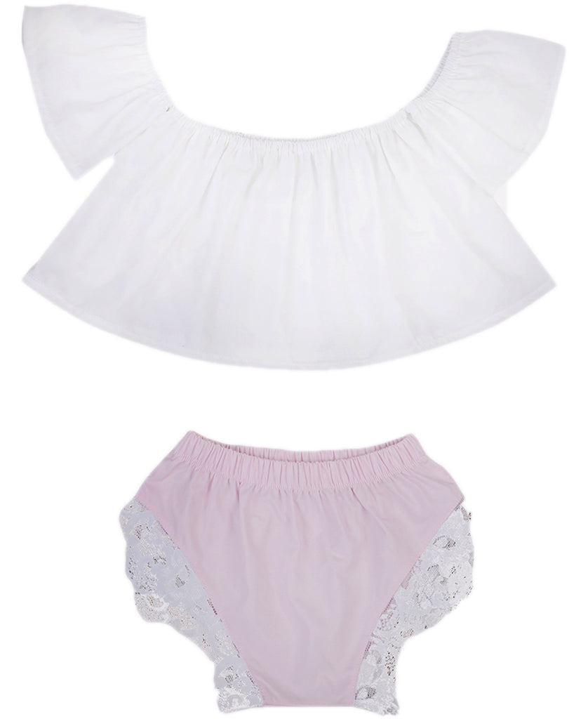 Summertime White Off Shoulder Top and Shorts Set - Clothing Sets - baby-petite