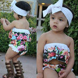 Tea Garden Floral Crop Top, Short and Headband Set - Clothing Sets - baby-petite