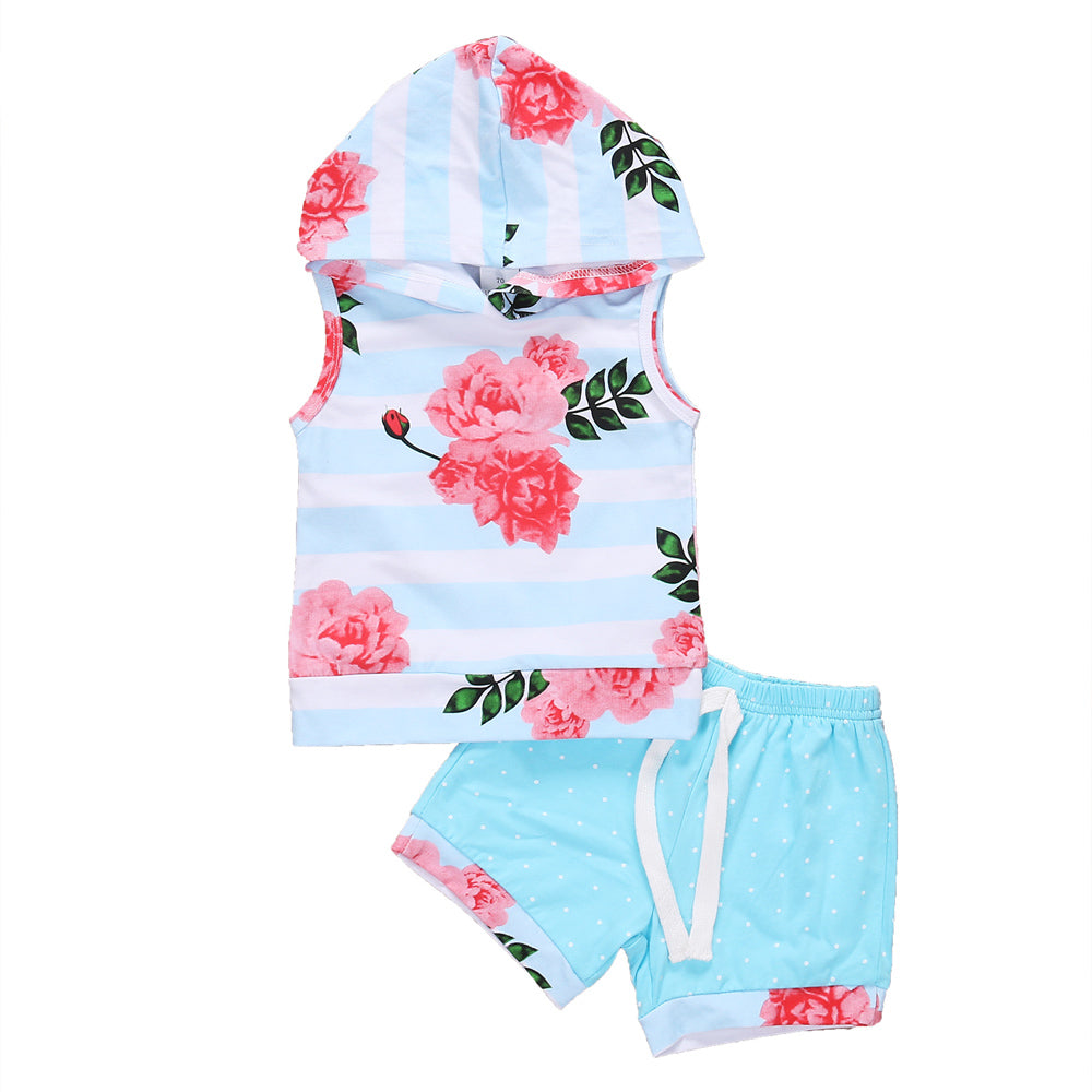 Summer Beach Floral Sleeveless Hoodie and Short Pants Set