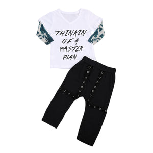 Thinkin Of A Master Plan T-Shirt and Long Pants Set - Clothing Sets - baby-petite