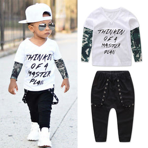 Thinkin Of A Master Plan T-Shirt and Long Pants Set - Baby Petite - Clothing Sets