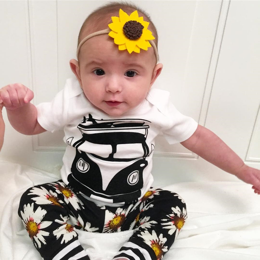 Floral Daisy Bus T-Shirt and Long Pants Set - Clothing Sets - baby-petite