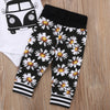 Floral Daisy Bus T-Shirt and Long Pants Set