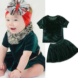 Velvet Green T-Shirt and Tutu Skirt Set - Clothing Sets - baby-petite