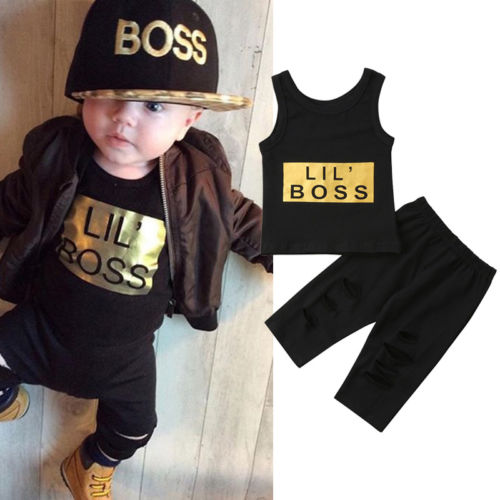 Lil' Boss Sleeveless T-Shirt and Long Pants - Clothing Sets - baby-petite