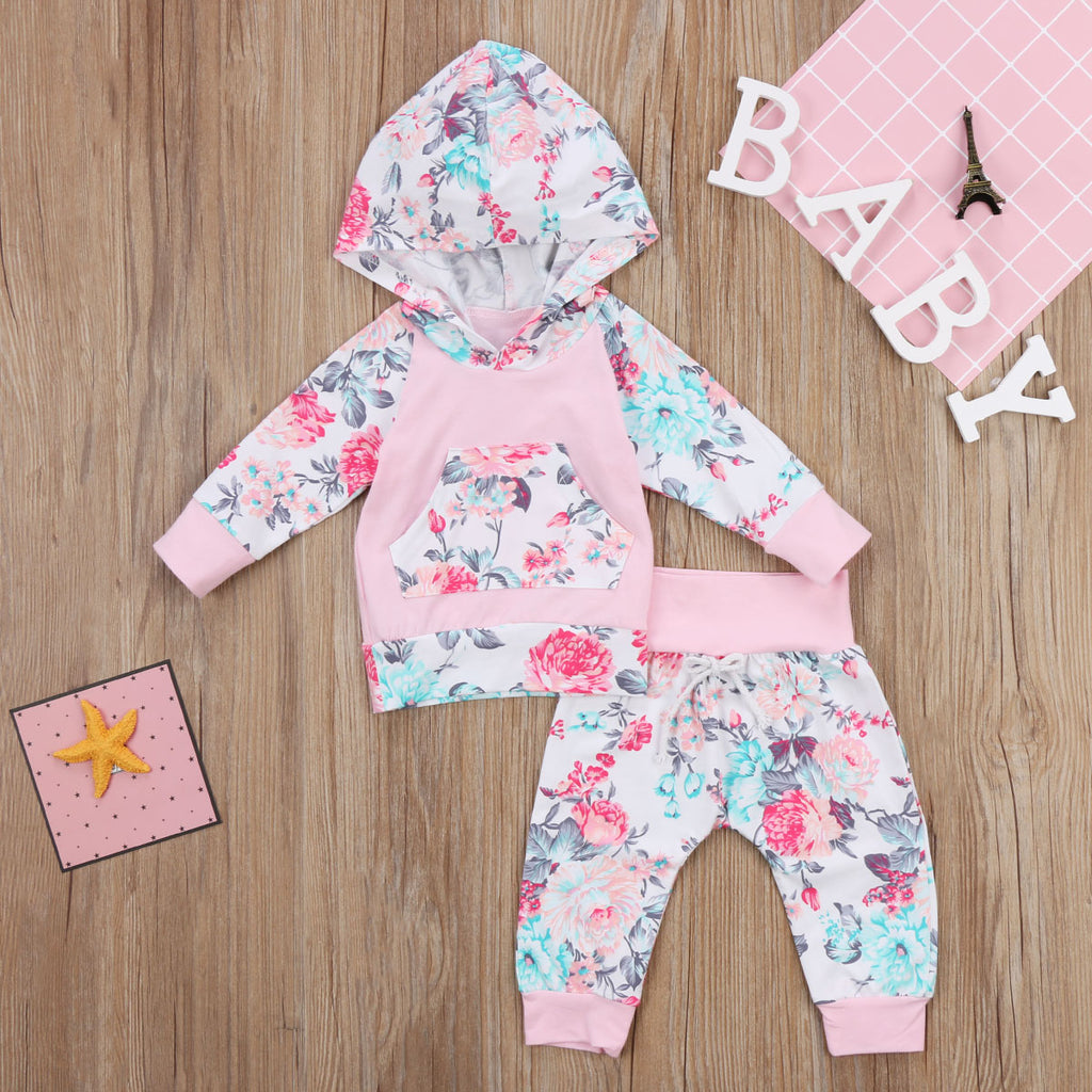 Urban Floral Hoodie and Long Pants Set - Clothing Sets - baby-petite