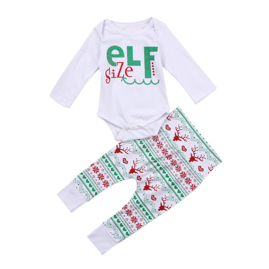 Elf Size Christmas Long Sleeve T-Shirt and Long Pants Set - Clothing Sets - baby-petite