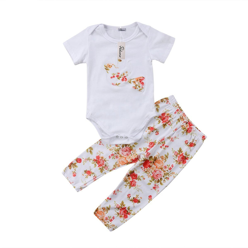 Floral Dove T-Shirt and Long Pants Set - Clothing Sets - baby-petite