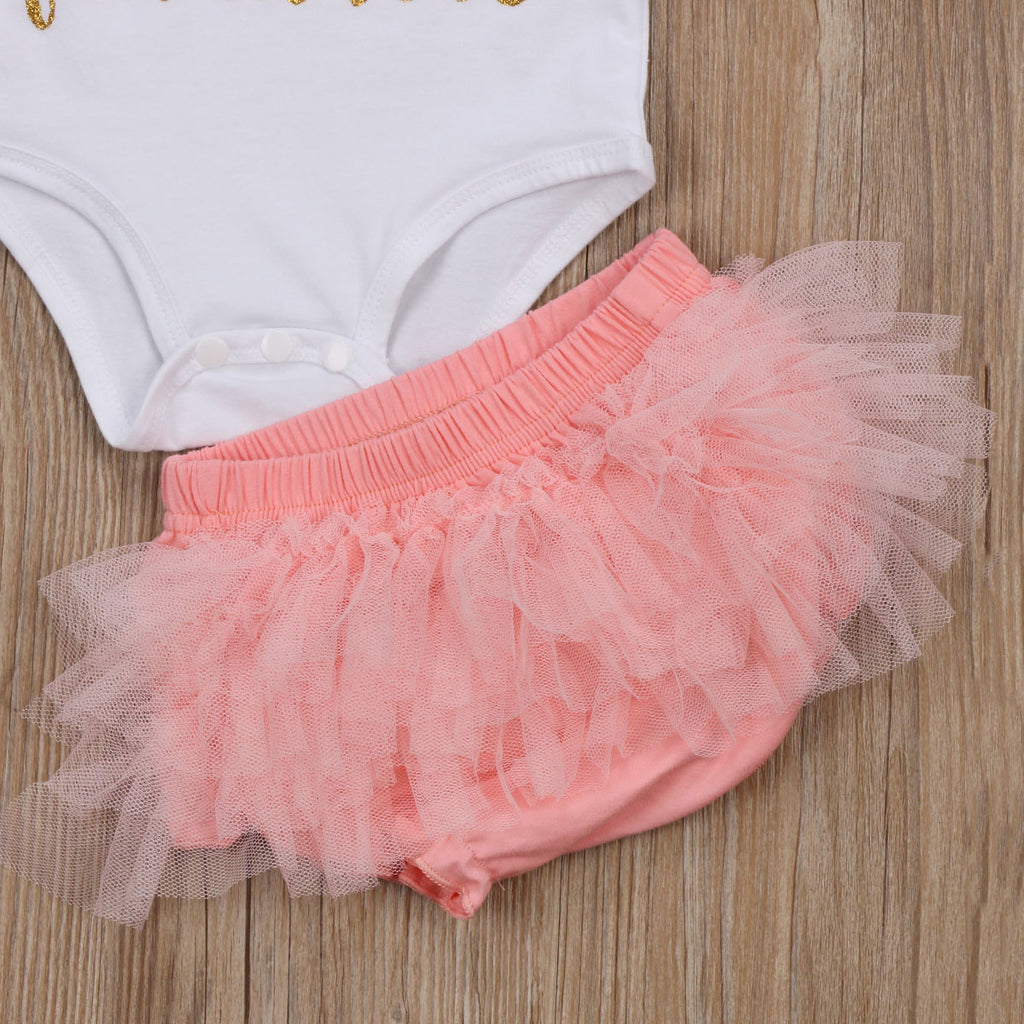 All Because Two people Fell In Love T-Shirt and Tulle Shorts Set - Clothing Sets - baby-petite