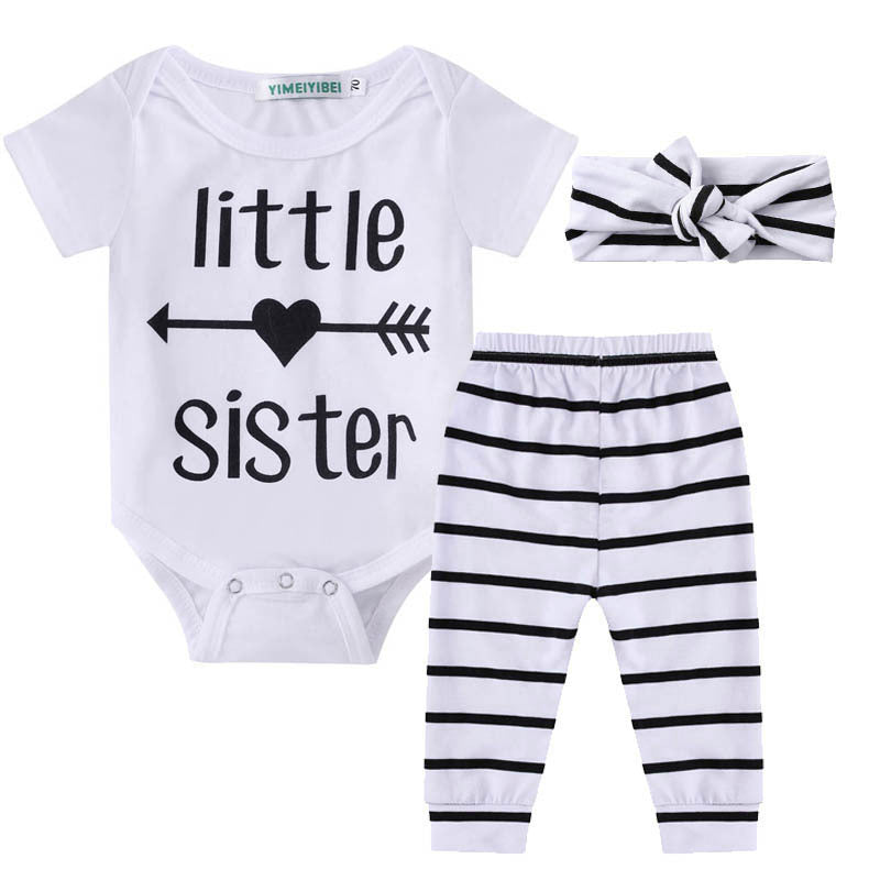 Little Sister Arrow Striped Clothing Set (3 Piece Set) - Clothing Sets - baby-petite