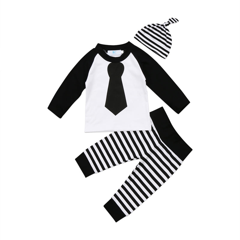 Striped Monochrome Tie Clothing Set (3 Piece Set) - Clothing Sets - baby-petite