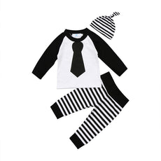 Striped Monochrome Tie Clothing Set (3 Piece Set)