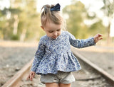 Blossom Of Blue Blouse and Shorts Set - Clothing Sets - baby-petite