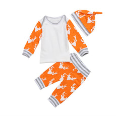 Orange Deer Striped Clothing Set (3 Piece Set)