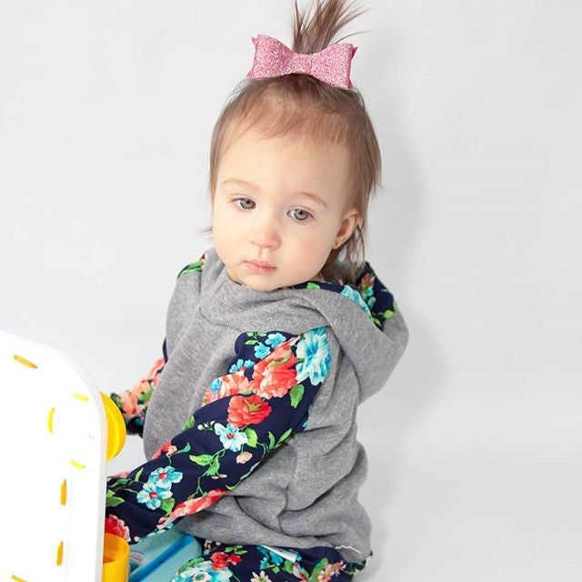 Lush Lux Floral Hoodie and Long Pants Set - Clothing Sets - baby-petite