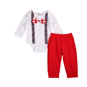 The Gentleman's Club Bow Tie Top and Long Pants Set - Baby Petite - Clothing Sets