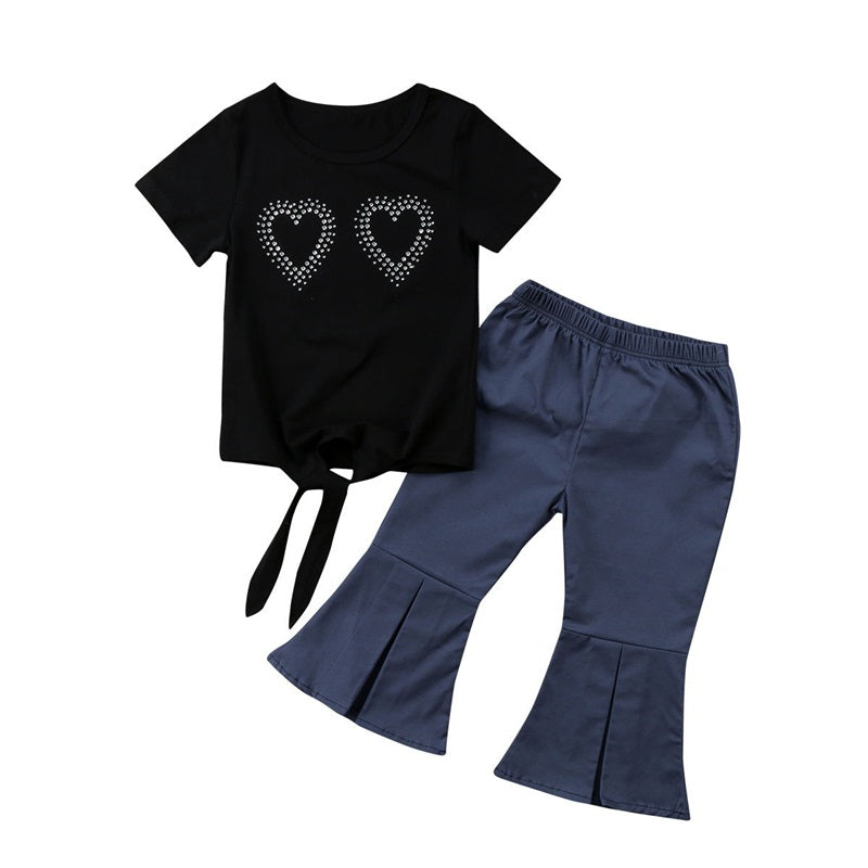 Dual Hearts Top and Flare Long Pants Set - Clothing Sets - baby-petite