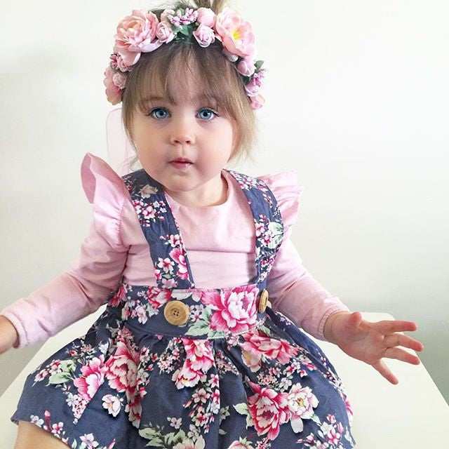 Pink Ruffle Romper and Floral Overalls Set - Clothing Sets - baby-petite