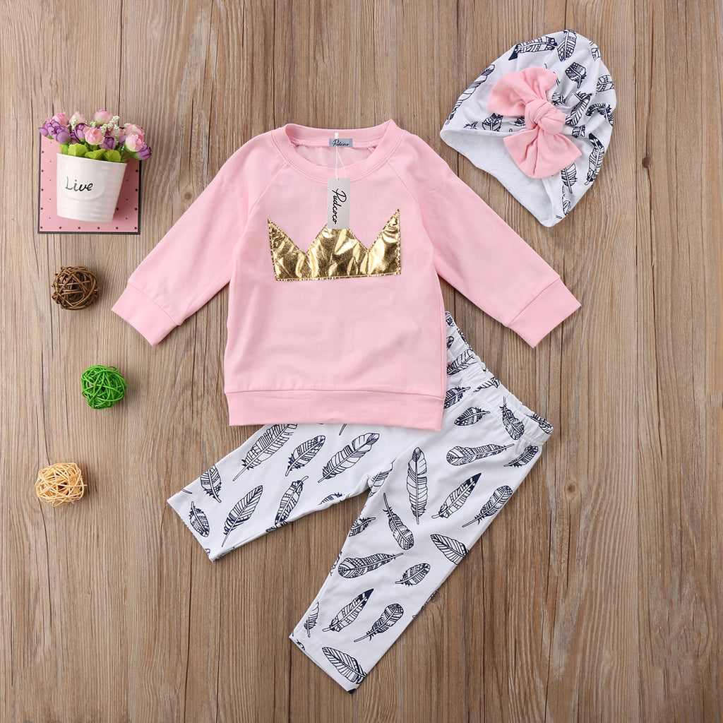 Crowned Princess Feather Clothing Set (3 Piece Set) - Clothing Sets - baby-petite