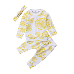 Two Piece Lemon Squeeze Pajamas With Matching Headband