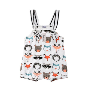 Cartoon Animal Buddies Striped Sleeveless Romper