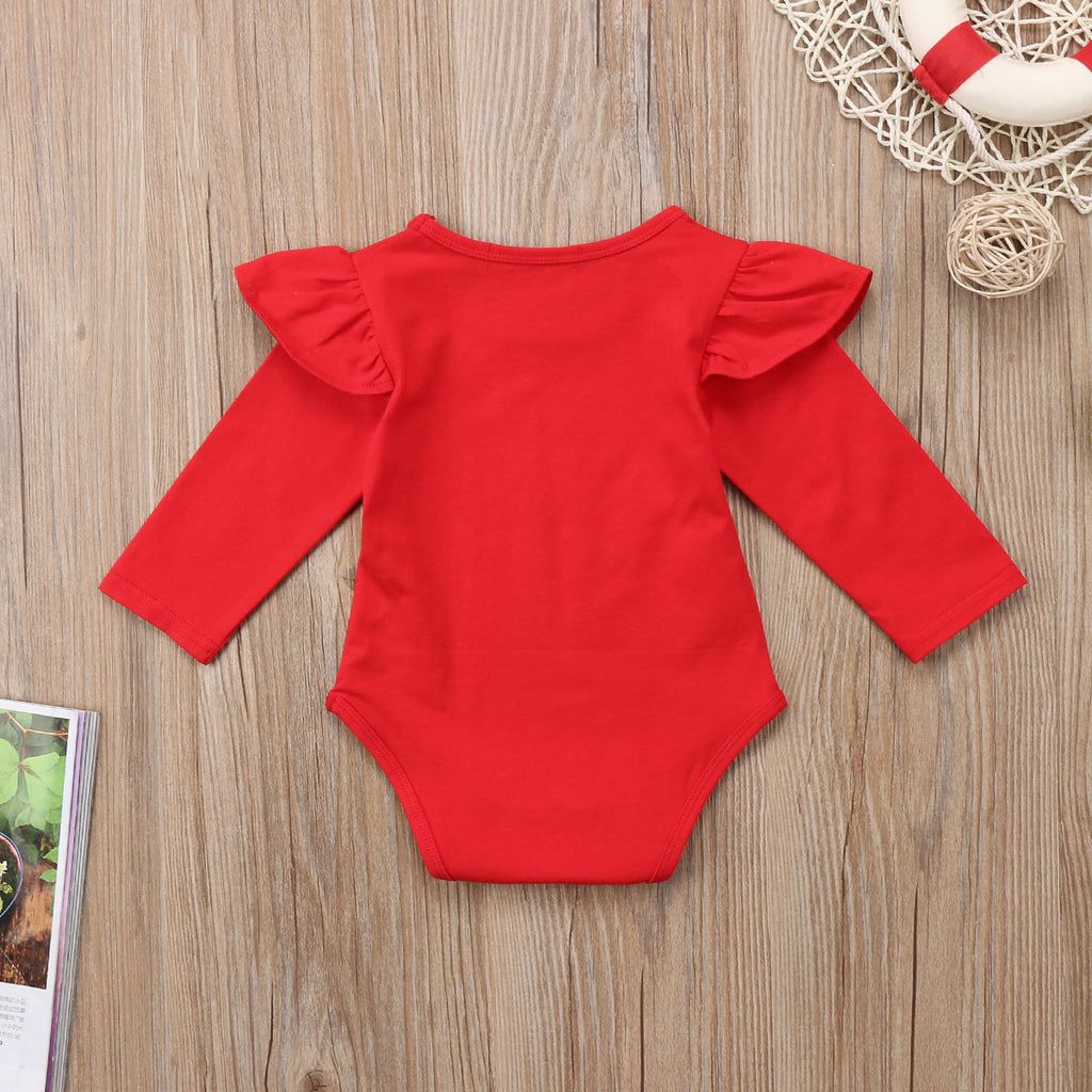 Basic Red Hot Ruffle Long Sleeve Romper
