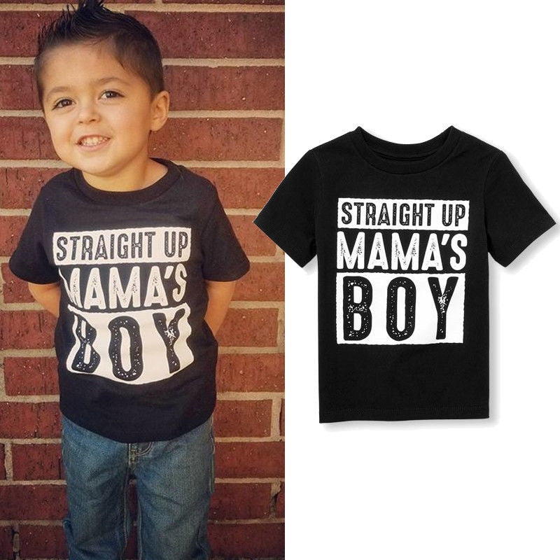 Straight Up Mama's Boy Cotton T-Shirt - Tops - baby-petite