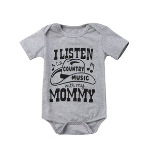 I Listen To Country Music With My Mommy Romper - Rompers - baby-petite
