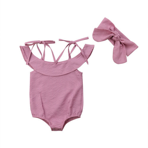 Blush & Hush Pink Strappy Romper With Matching Headband - Kids Petite - Baby & Kids Clothing