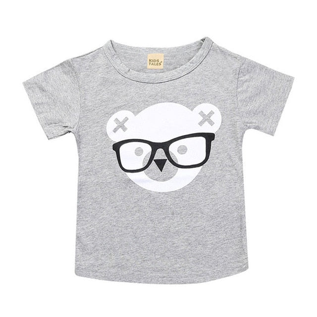 Geek Bear Print Cotton T-Shirt - Tops - baby-petite