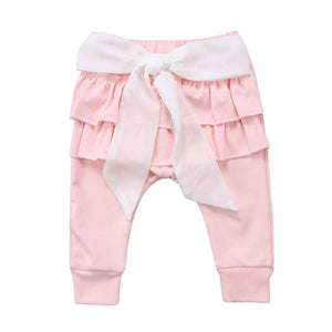 Bow Knot Ruffle Casual Cotton Pants