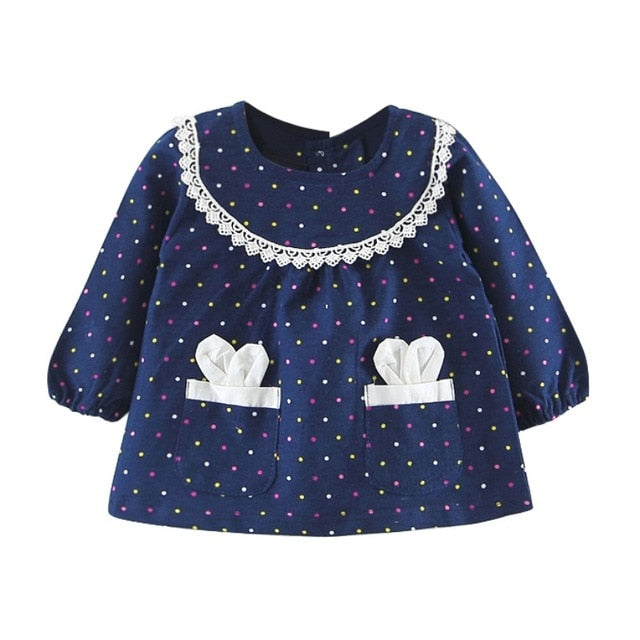 Polka Dot Lace Collar Pocket Dress - Dresses - baby-petite