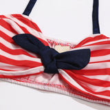Retro Red Striped Button Swimsuit With Matching Headband - Swimsuits - baby-petite