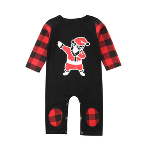 The Dabbing Santa Plaid Long Sleeve Romper