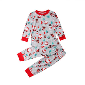 Christmas Santa Snowflake Two Piece Pajamas